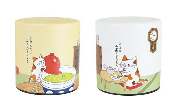 ねこ茶和紙缶